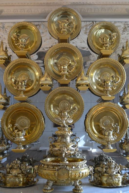 huge golden dishes